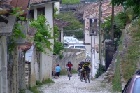 Cyclists in Berat, Albania