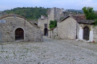 Traditional living houses in the castle of Berat