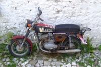 Jawa motorcycle in Berat Castle