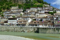 The river Osum in Berat city, Albania