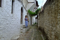 Narrow street in Berat city, Albania