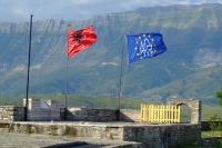 Flags of Albania and Gjirokaster Castle