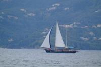 Sailboat in Corfu Channel