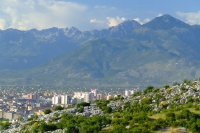 Shkodër city on the background of the mountains